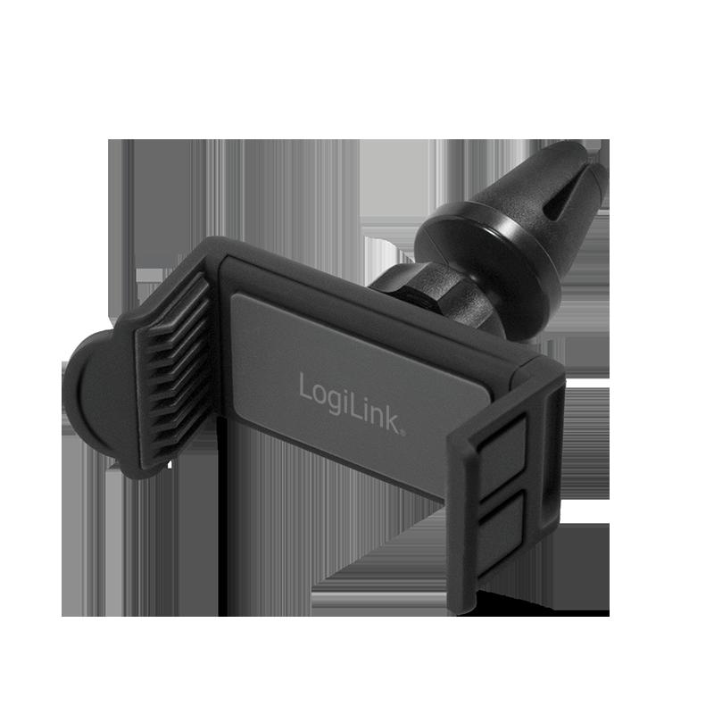 LogiLink USB KFZ Ladegerät + Smartphone Halterung, schwarz